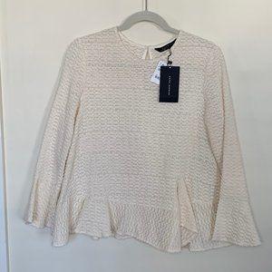 Zara Cream Colored Top with Bell Sleeves/Peplum